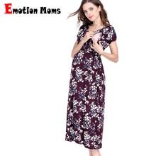 Emotion Moms Floral Maternity Nursing Dress For Pregnant Women Gravidez Soft Pregnancy Breastfeeding Clothing