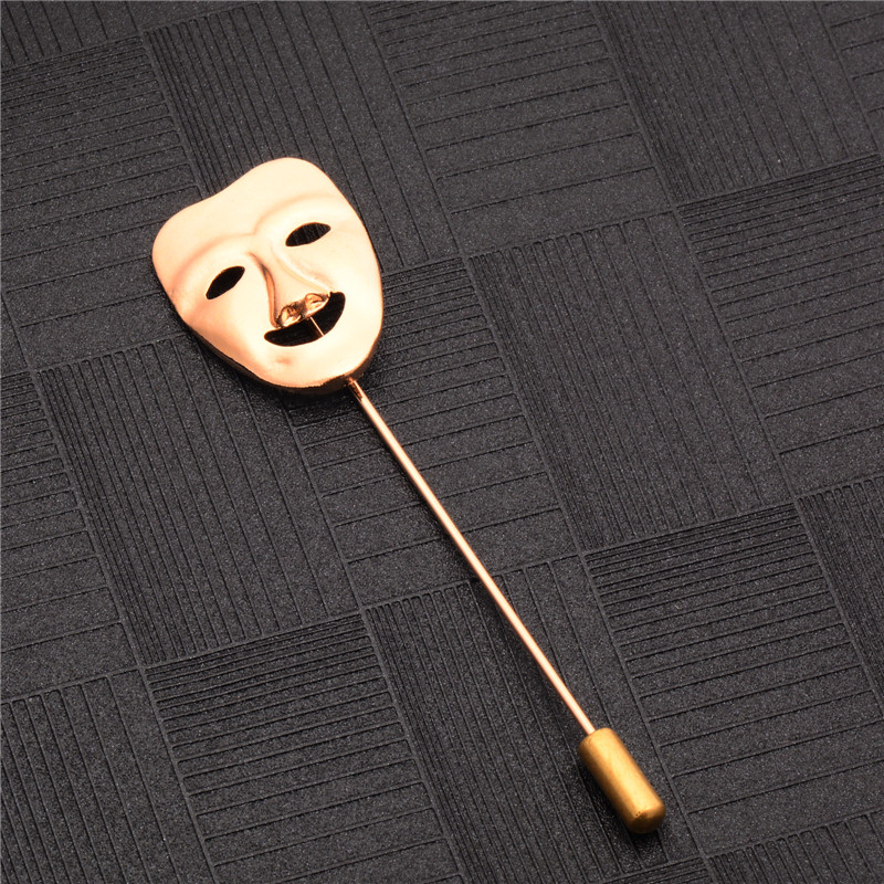 bdd6d7968 MISANANRYNE Vintage Special Mens Clothes Jewelry 3D Face Mask Brooches Alloy  Gold Color Men Suits Accessories
