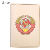 Travel Accessories Original Leather Russian Passport Cover Custom Photo Soviet Union National Emblem CCCP Passport Card