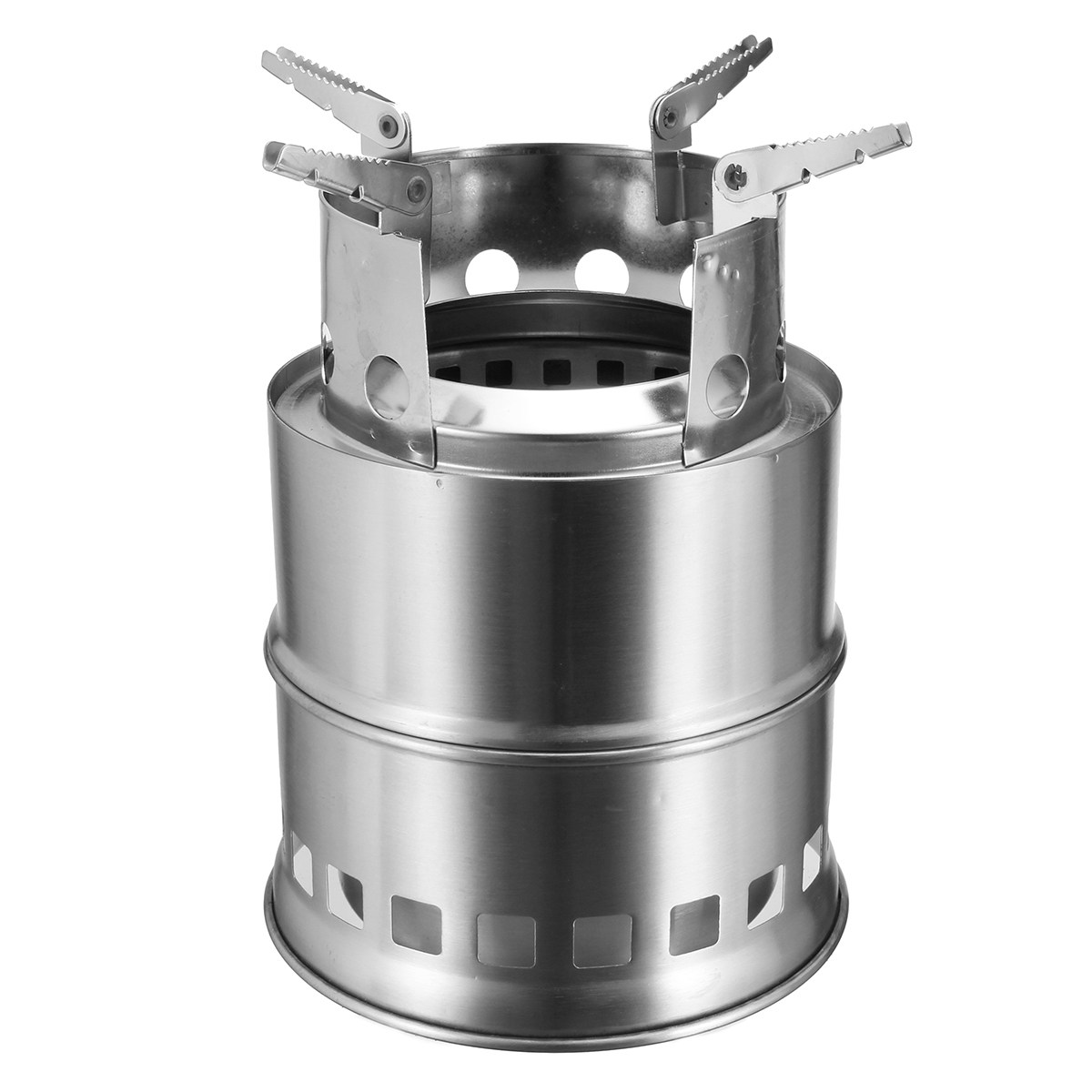 Outdoor Stainless steel Wood Gas Backpacking Emergency Survival Burning Camping Stove Portable with Mesh bag