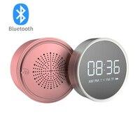 Rotation Travel alarm clock Portable bluetooth speaker FM radio alarm clock Desktop electronic LED mirror alarm clock