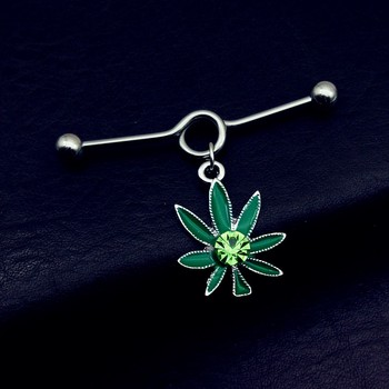 1pcs Top Quality pot leaf green Fashion Earring 316L Stainless Steel Industrial Piercing Barbell Cartilage Tragus.jpg 350x350 - 1pcs Top Quality pot leaf green Fashion Earring 316L Stainless Steel Industrial Piercing Barbell Cartilage Tragus Body Jewelry