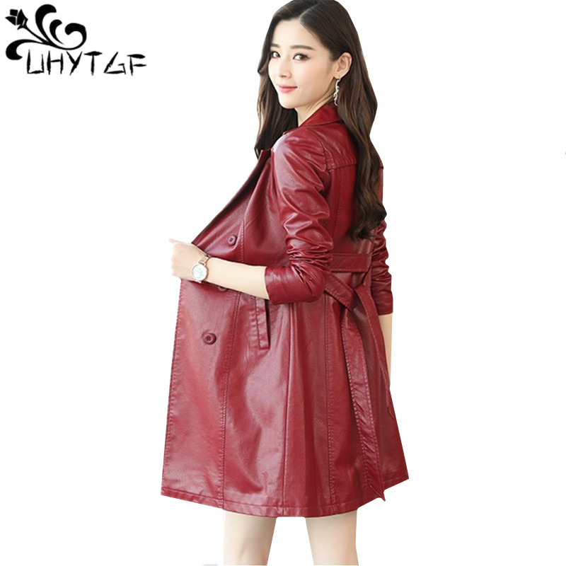 0e4a0213 UHYTGF-Autumn-Winter-leather-Jacket-for-Women-Long -Trench-Coat-Belt-Double-breasted-Slim-leather-Coat.jpg