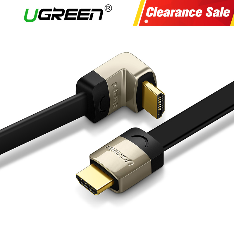 Ugreen metal HDMI flat  cable Angle 90 degree Male to Male 1M 1.5M 2M 3M HDMI 1.4 4K 1080P 3D for PS3 Xbox projector Apple TV