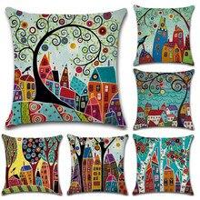 Funda de almohada de arte abstracto de dibujos animados, impresión a mano, decoración de granja decorativa amarilla geométrica para el hogar, sofá para habitación de niños