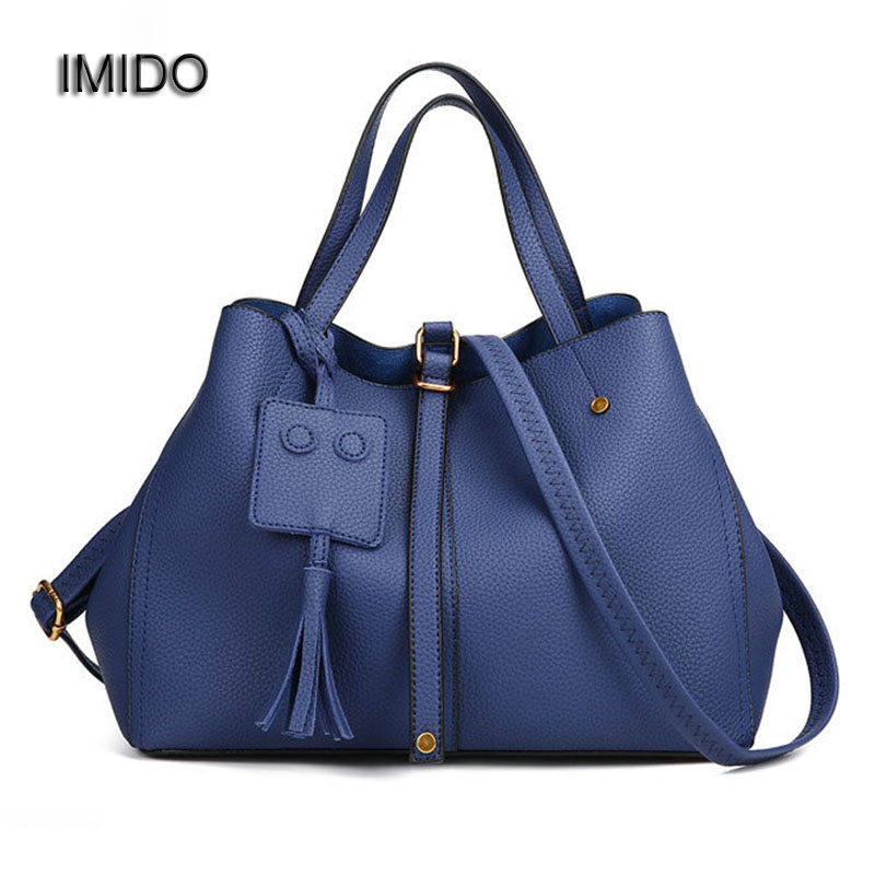 IMIDO 2017 Europe Large Capacity PU Leather Bags Ladies Brand Designer Bag Women Handbags Tote Quality Black Blue bolsa HDG037 famous brand women handbags pu leather bag women tote high quality ladies shoulder bags large capacity ladies top handle bags