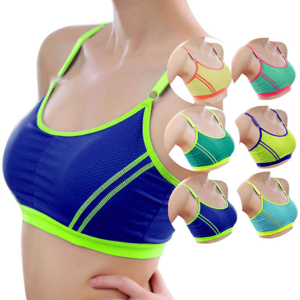 d186d56827 Sport Bra Top Fitness Gym Women Strappy Vest Seamless Padded Yoga Bras  Training Tank Top Push up Running Underwear