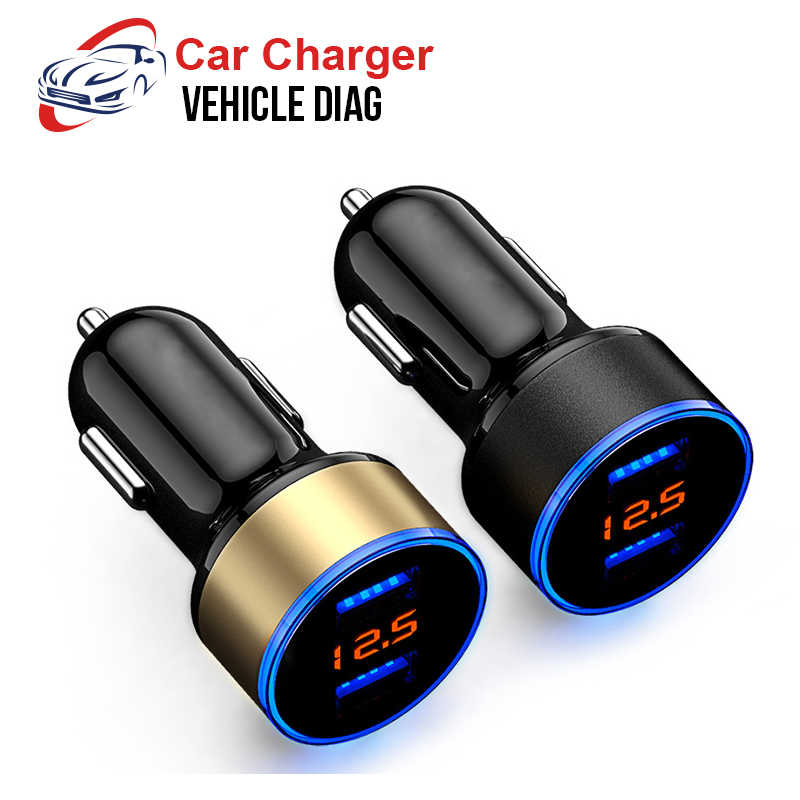 Charger 2 Port 3.1A Dual USB Charger LCD Display 12-24V Cigarette Socket Lighter Fast Car Charger Power Adapter Car Styling