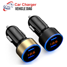 Car Charger 2 Port 3.1A Dual USB Charger LCD Display 12-24V Cigarette Socket Lighter Fast Car Charger Adapter for Cellphone PAD
