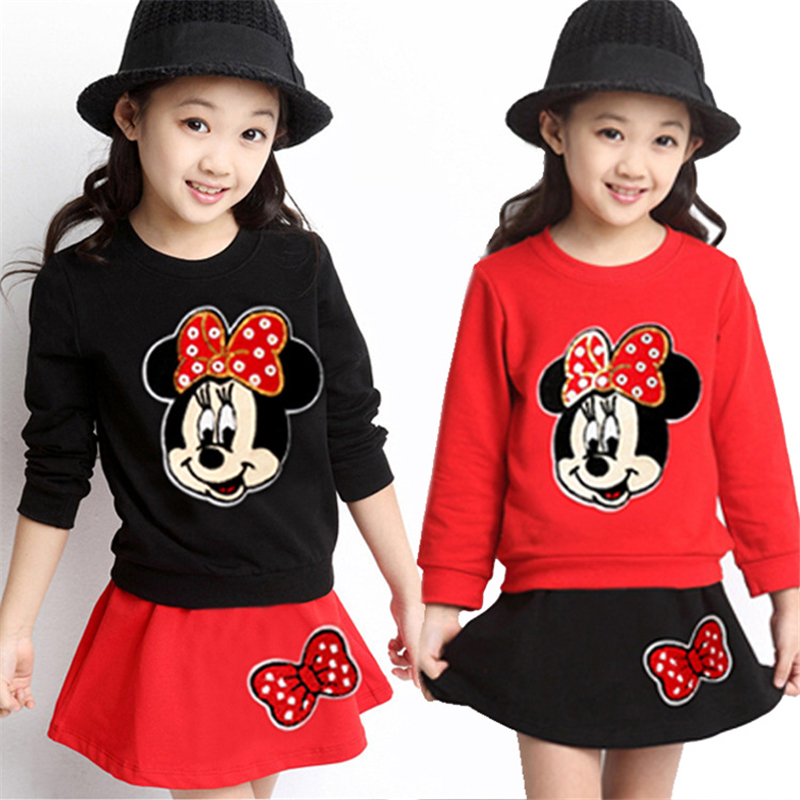 2Pcs Mickey Dress Mickey Mouse Minnie Twin Girls Dresses Long-sleeved Dress Long Sleeve Sweater + Mini Dress Two Piece Set 4-9Y plaid long sleeve belted midi dress