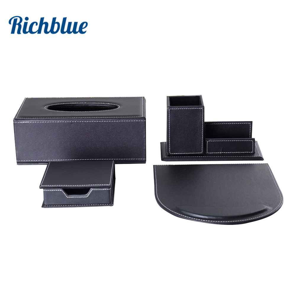 Office Supplies Desktop Stationery Desk Organizer Set Include Tissue Box Pen Holder Mouse Pad & Memo Case Table Neat Accessories