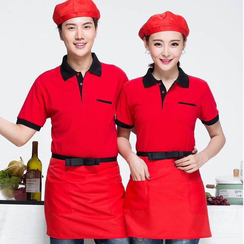 Hotel Uniform T-shirt Short Sleeved Summer Fast-food Restaurant Waiter Work Clothes T-shirt Short Sleeve Dress Shirt J220