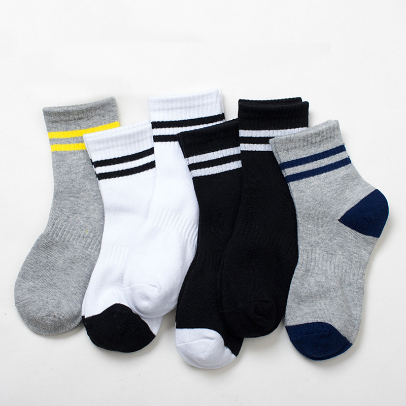 5 Pairs / Lot Children Socks Spring & Autumn Stripe High Quality Cotton Brand Student Kids Socks 4-12 Year Baby Boys Socks