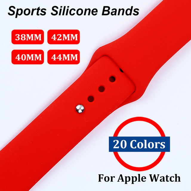 Band for apple watch 42mm 38mm 44/40 Sport Silicone Watchband Replaceable Bracelet Strap for iWatch Series 1/2/3/4 Watchstrap 22 colors sport silicone band for apple watch band series 1 2 3 silicone strap bracelet for iwatch 38mm 42mm watchband