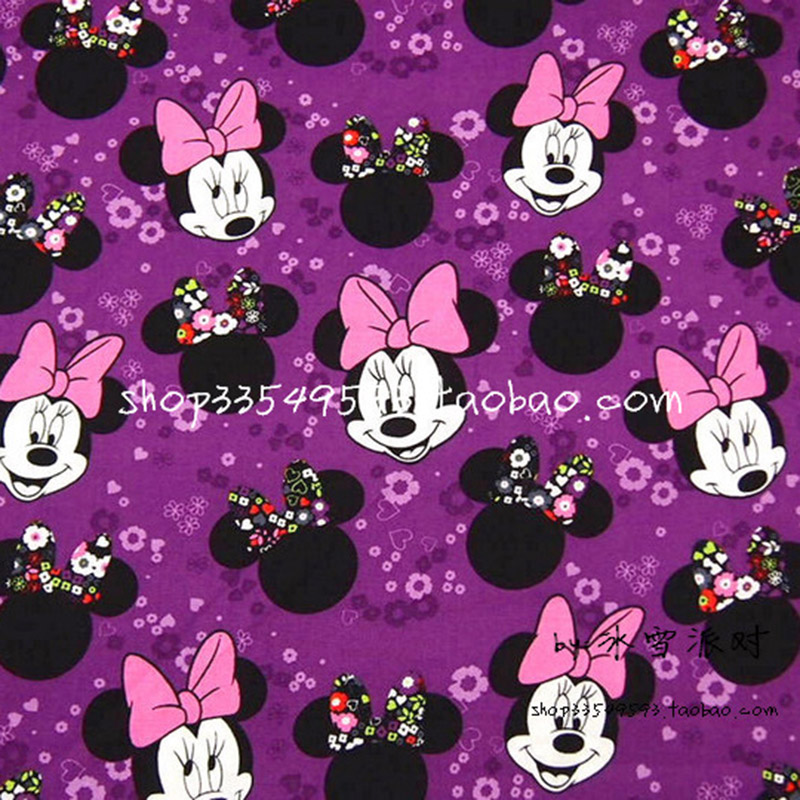 Lovely Minnie Fabric 100% Cotton Fabric Purple Disny Minnie Head Printed Fabric Patchwork Sewing