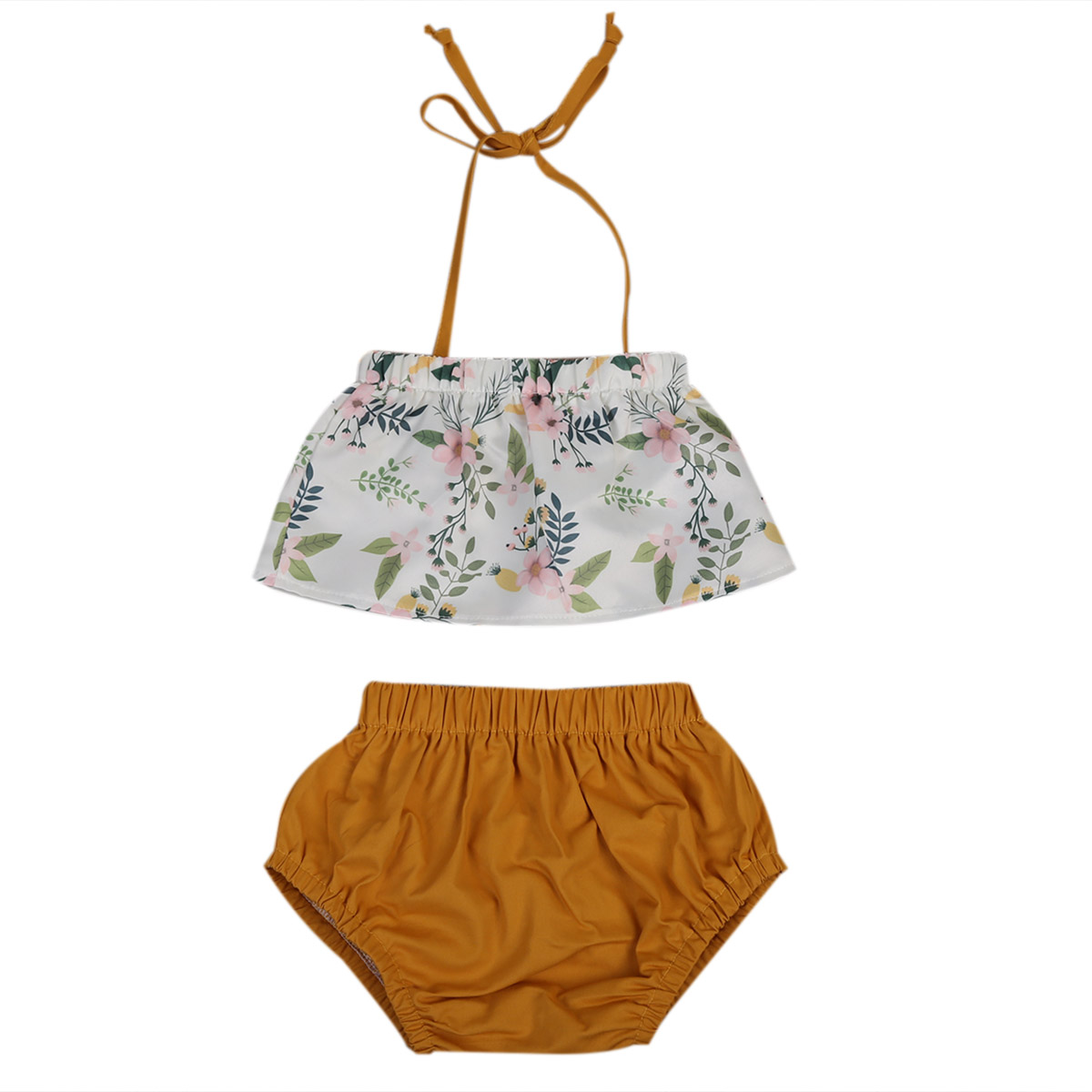 Summer 2017 Newborn Kid Toddler Baby Girl Floral  Belt Hater Top+Triangle shorts Outfit Set Clothes
