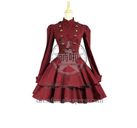 Victorian Lolita Steampunk Military Coat Gothic Lolita Dress With Ruffles Decorated And British Style Elegance For Halloween