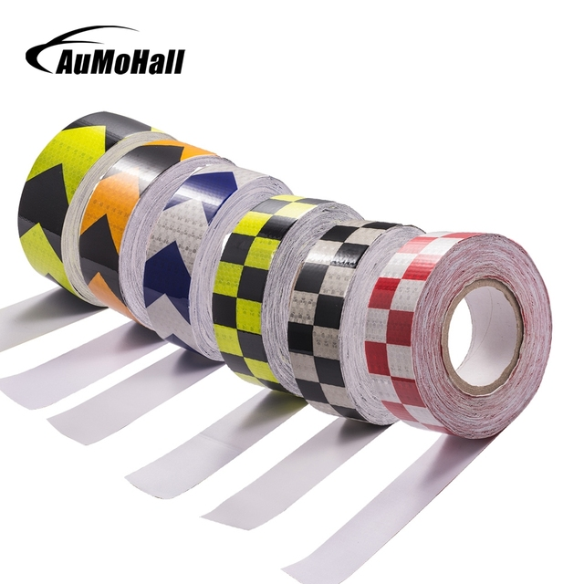 5cm*3M/5M/10M Truck Safety Mark Reflective Tape Stickers Car Styling Self Adhesive Warning Tape Automobiles Reflective Film