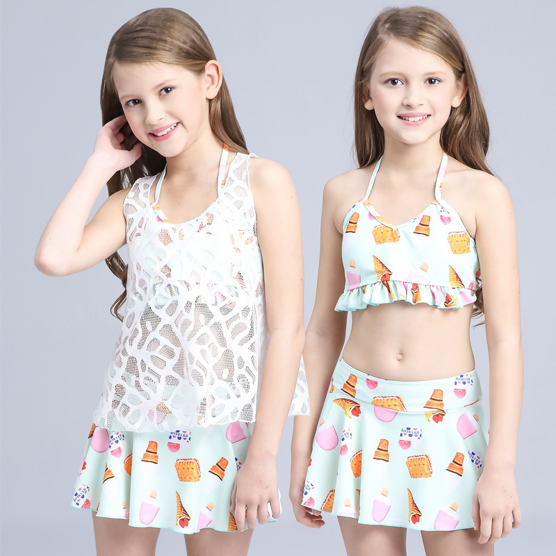 3 Pieces New Childrens Swimsuits For Teens Girls Split Lace Bikini 2018 Summer -9045