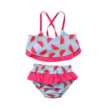 88f7dafb9953b4 Peuter Kid Meisjes Baby Kleding Sets Bikini Set Badmode Badpak Badpak  Halter Watermeloen Print Beachwear Meisje