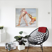 Summer Beach Seascape Hot Sale Funny Naughty Dog and Sexy Lady Wall Art Handmade Canvas Oil Painting For Bedroom Or Living Room