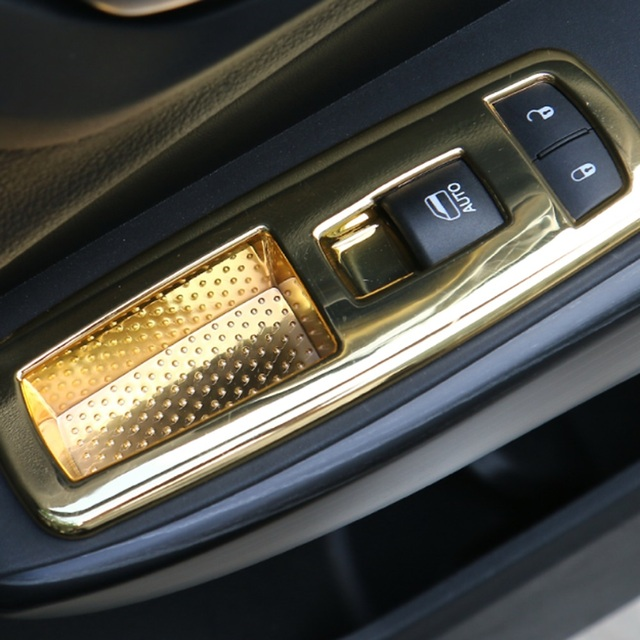 4PCS Car Interior Trim Cover Kit Gold ABS Automotive Interior Stickers for Window Lift Buttons