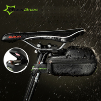 RockBros Cycling Saddle Bag Black Carbon Fiber PU EVA Leather MTB Road Bike Bicycle Seatpost Tail