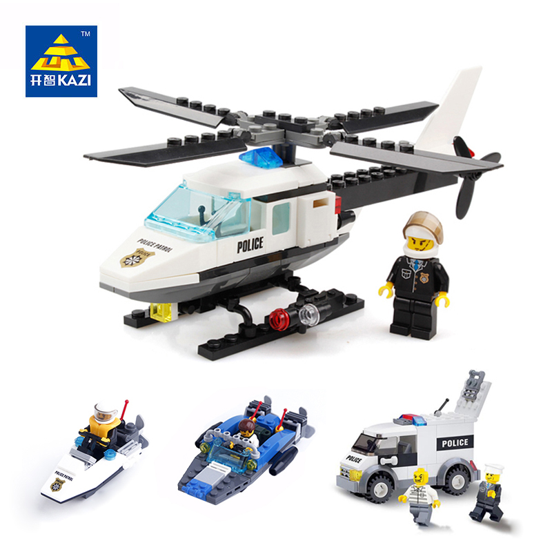 KAZI Police Model Building Blocks Set Helicopter Boat Ship Rescue Car Educational Bricks Brinquedos Toys for Children 6+Ages kazi 6726 police station building blocks helicopter boat model bricks toys compatible famous brand brinquedos birthday gift