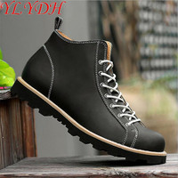 2017 High Quality Genuine Leather Men Boots Retro Punk Style Patent Leather Men Ankle Cowboy Boots