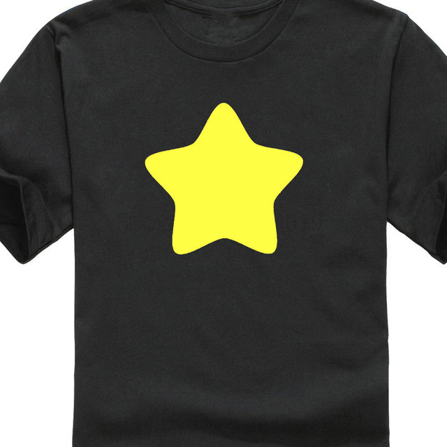 866d2a277 T camisas paño de Steven universo amarillo Star hombres manga corta cuello  T camisa de los