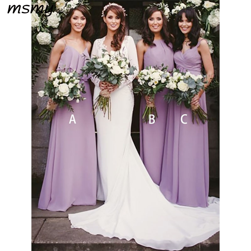 Beautiful A-Line   Bridesmaid     Dresses   Sleeveless Mismatched Chiffon Simple Cheap Long   Bridesmaid     Dresses   Custom Made