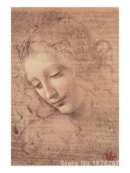Female Head full La Scapigliata c. by Leonardo Da Vinci Canvas art Painting High quality Hand painted