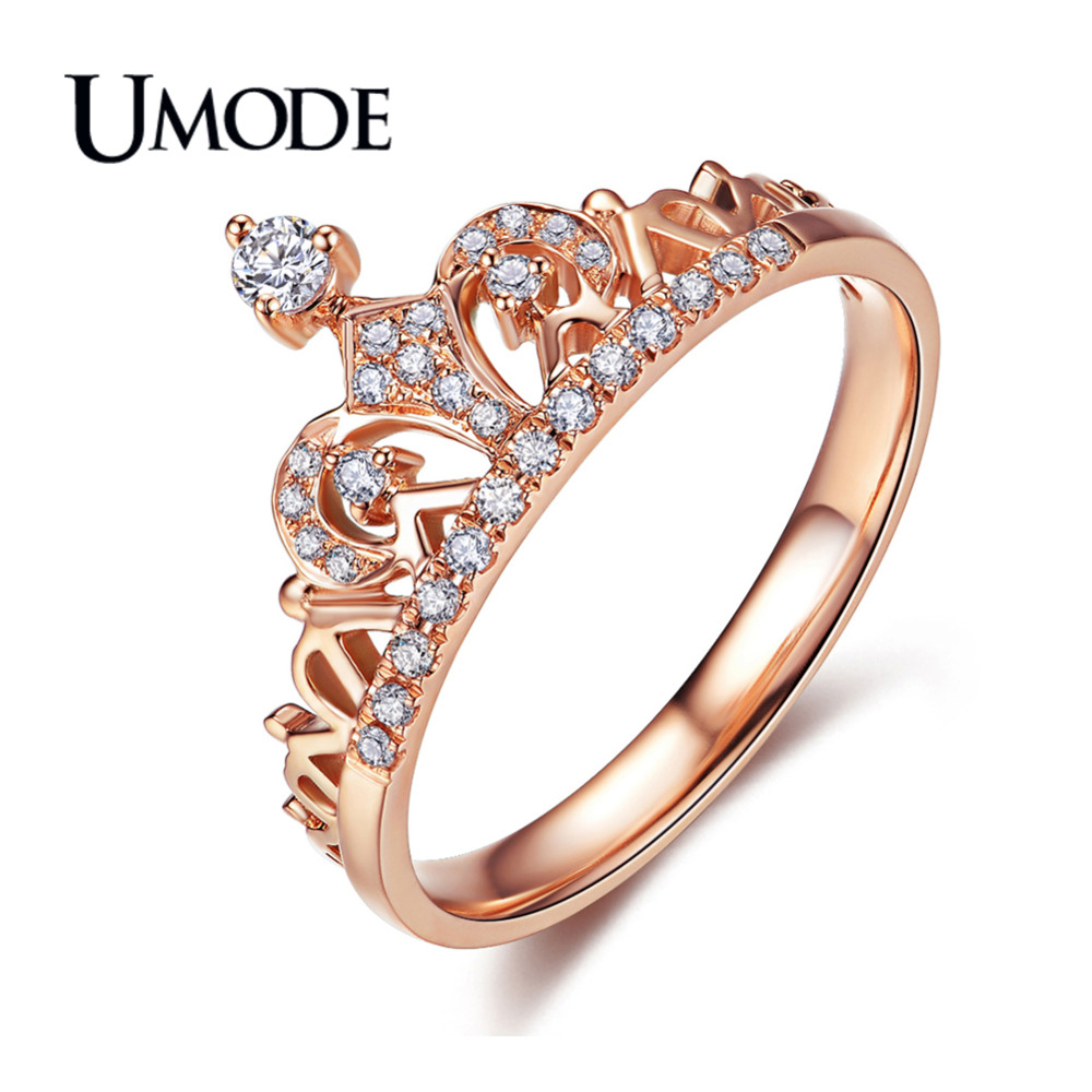UMODE CZ Crystal Fashion Crown Ringar För Kvinnor Rose Gold Color - Märkessmycken - Foto 3