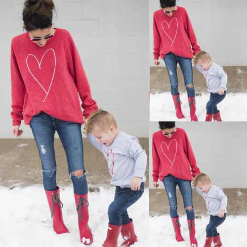 Family Matching Outfits Mother Mum Baby Boy Girl T-shirt Sweater Sweatershirt Blouse Top