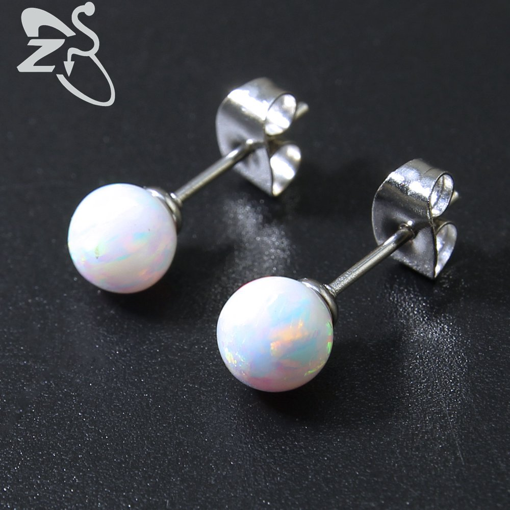 6mm White Opal Ball Stud Pendientes Post Fire Opal Stud Earring 925 Pendientes de plata esterlina Opal Sterling Silver Jewelry Gift