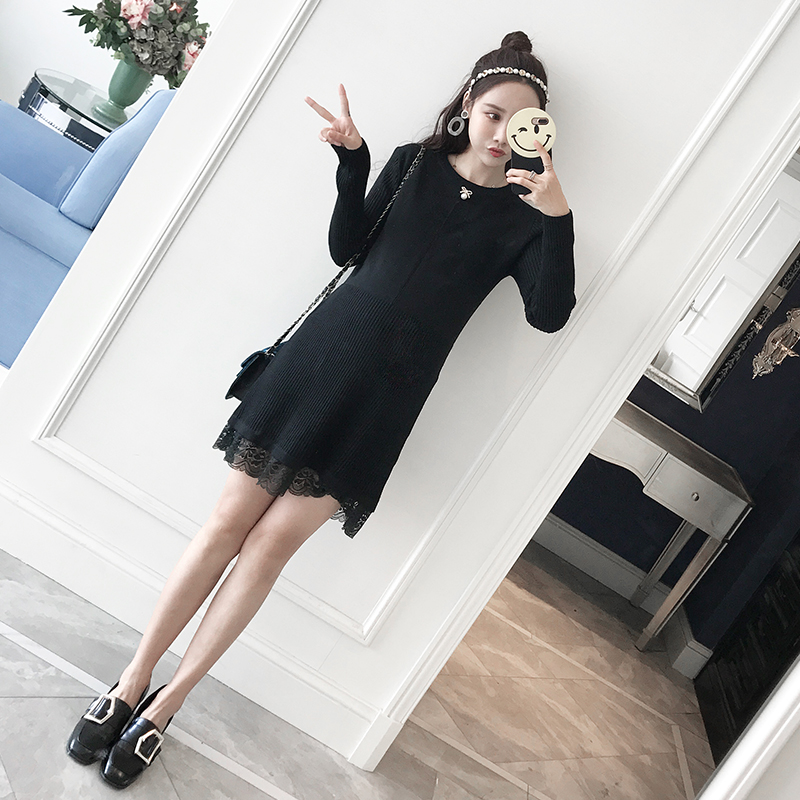 2017 Korean fashion maternity dress autumn and winter base thicker new wave of knitted skirt 2017 autumn maternity dress t shirt