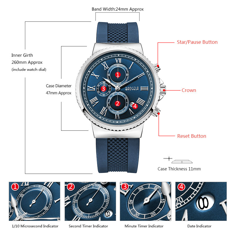 Baogela chronograaf quartz horloges voor heren jongens mode casual - Herenhorloges - Foto 5