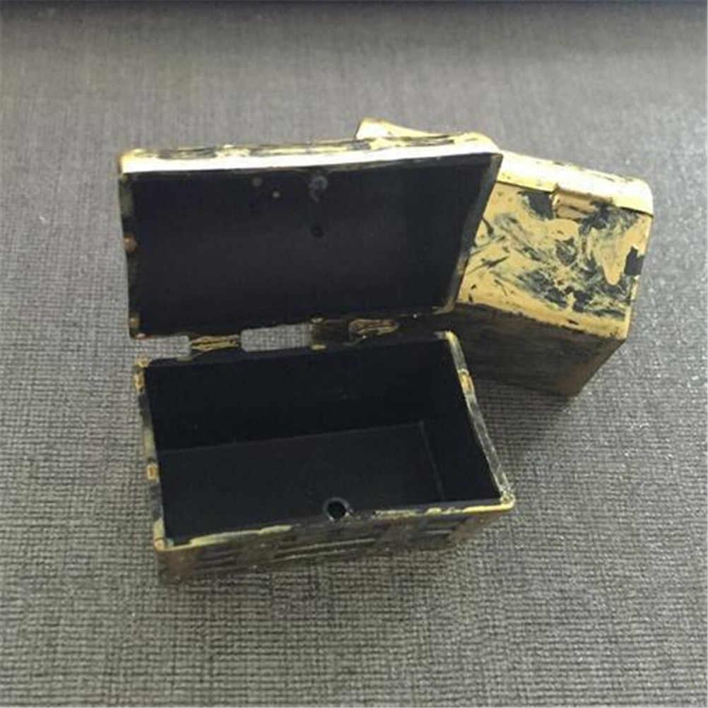 2Pcs Dollhouse Miniature Vintage Treasure Box Mini Pirate Jewelry Box Case Kids Play Toys  Doll House Accessories