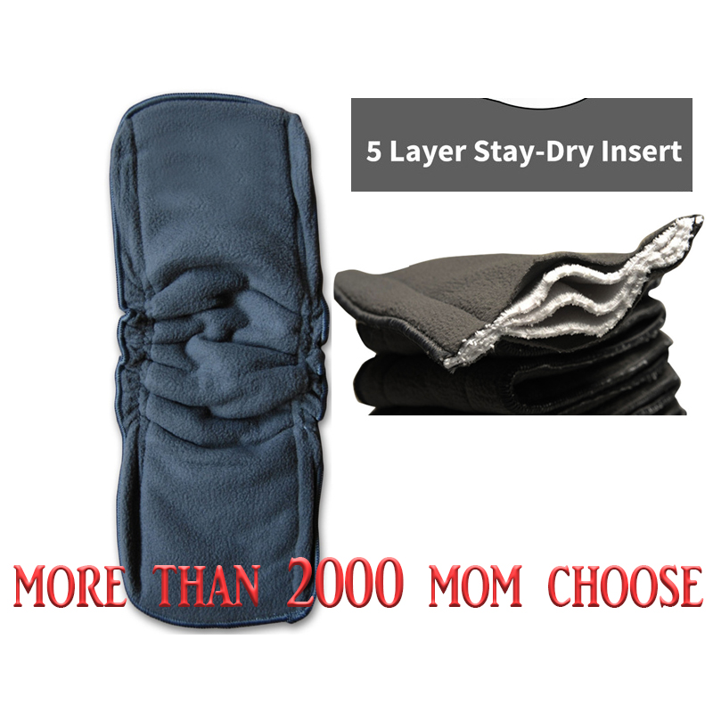 1pcs Baby Diapers Washable 5 Layers Cotton Cloth Charcoal Bamboo Diaper Insert Retail 0-2 Years Old Boy Girls Reusable Wholesale