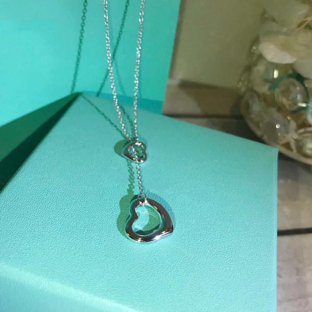 Collier coeur S 925 argent Sterling Double coeur pendentifs colliers pour les femmes meilleur pour les femmes cadeau collier livraison directe
