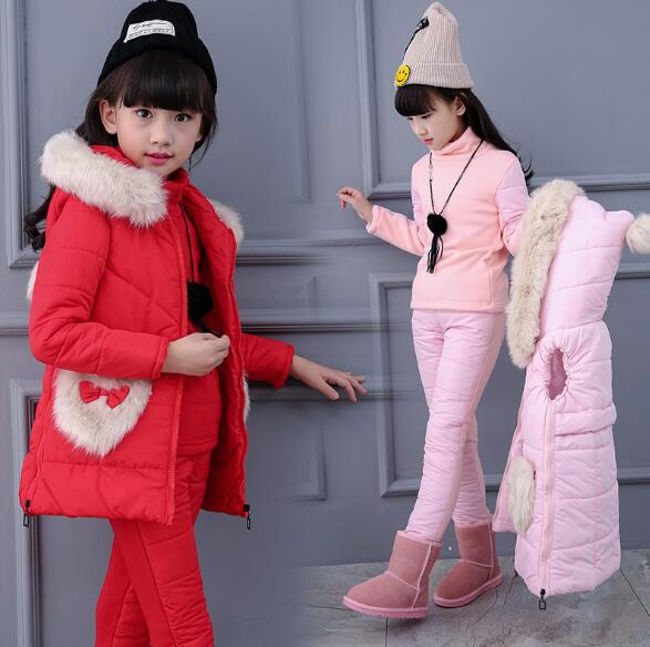 New 2019 Winter Childrens Thickening Cotton Padded Clothes 3 Pcs Set For Cold Weather Girls Velvet Wadded Jacket +Tops+Pants New 2019 Winter Childrens Thickening Cotton Padded Clothes 3 Pcs Set For Cold Weather Girls Velvet Wadded Jacket +Tops+Pants