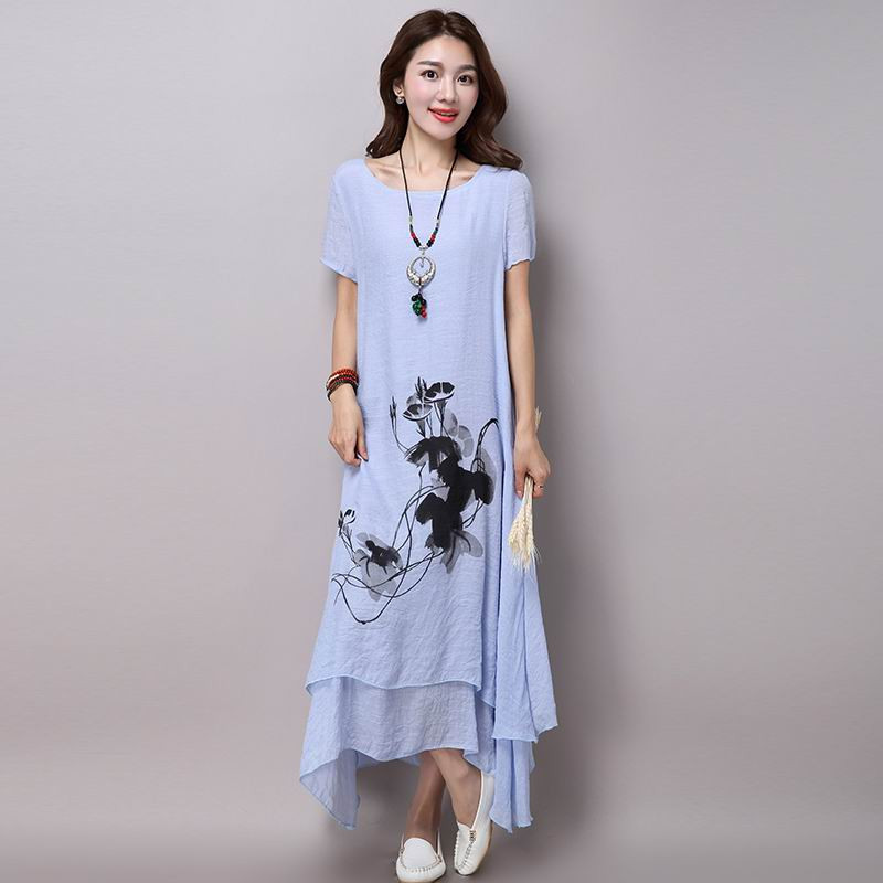 2019 Summer Dress Plus Size Women Feminino Vestidos S-5xl Cotton And Linen Dress Short Sleeve V Neck T-shirt Ladies Casual Dress To Be Distributed All Over The World Women's Clothing