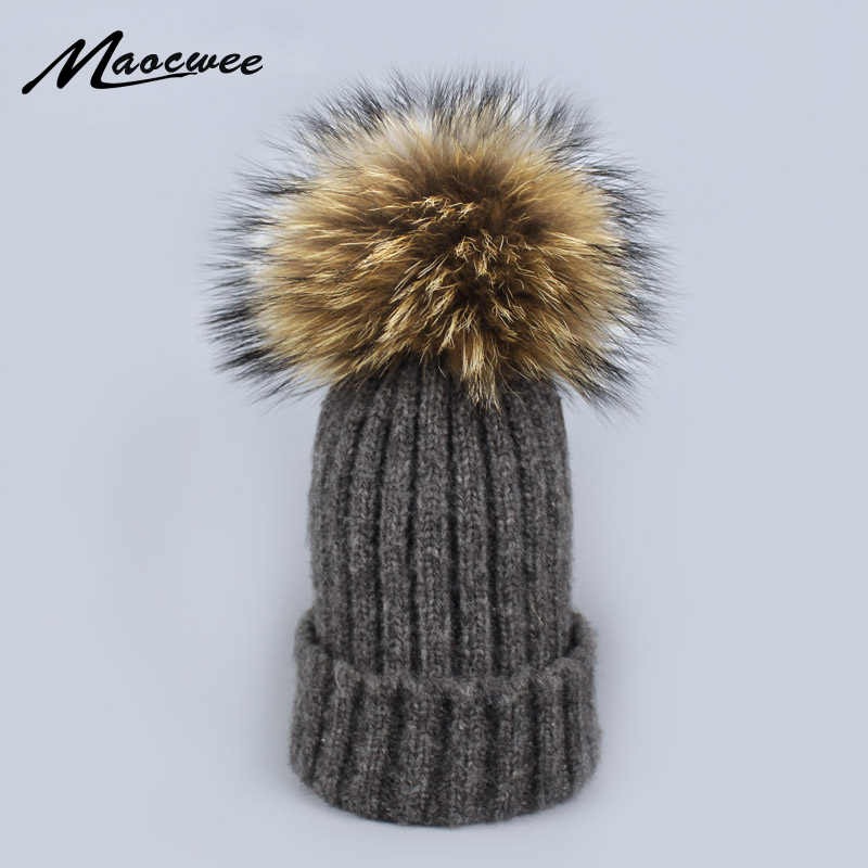 a005283d71c Winter Knitted Wool Hats for Women Fashion Pompon Beanies Fur Hat Female  Warm Caps With Natural
