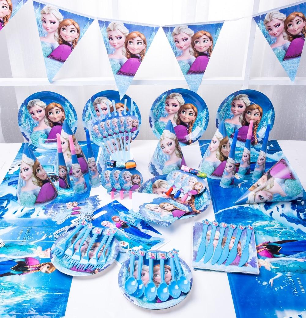 Happy Birthday Kids Frozen Elsa Anna Baby Shower Wedding Festival Party Decoration Set Disposable Tableware Set Plates Suppliers
