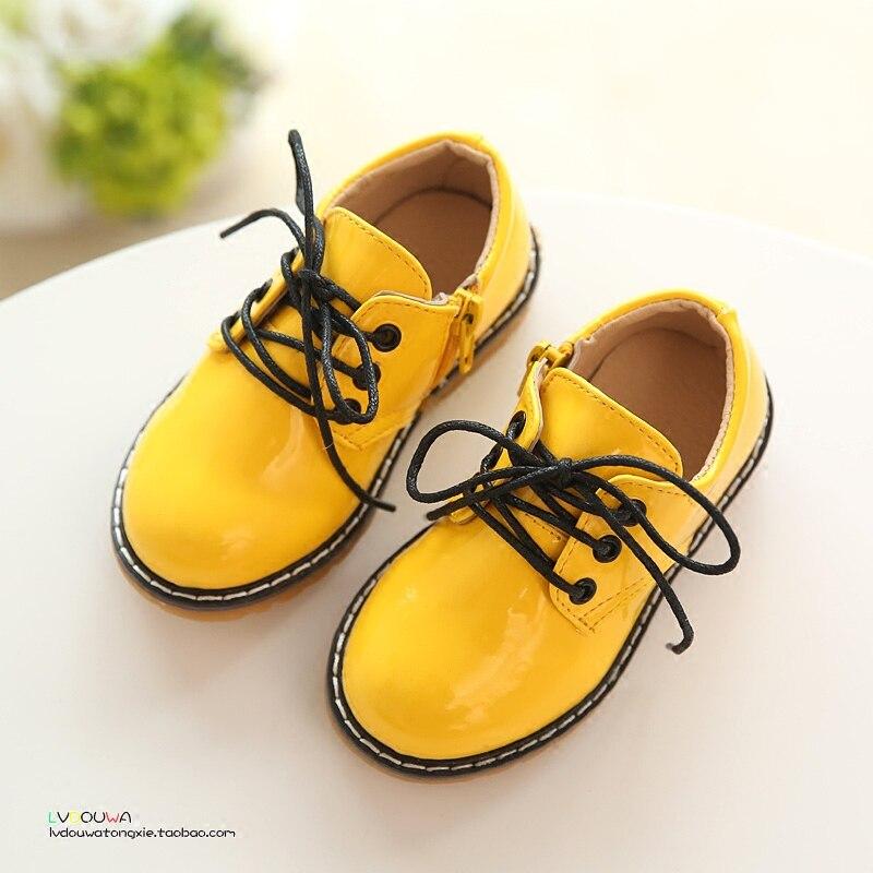 B&D Spring Kids Shoes Pink/Yellow/Black Short Martin Boots For Boys & Girls 2016 Fashion Children PU Shoes Girls Princess Shoes