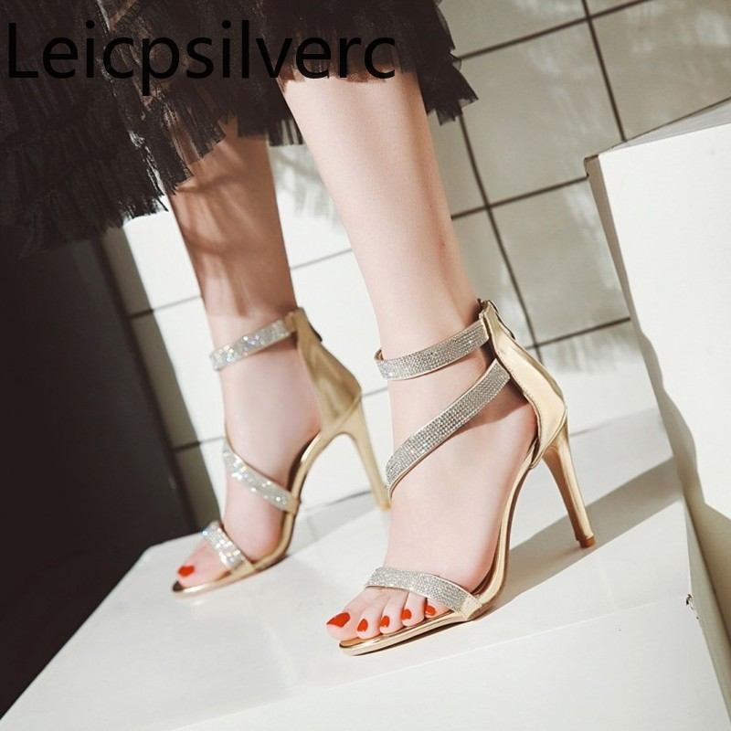Spring and summer new style Sexy Open toe High heel sandals womens fashion crystal zipper Fine heel Roman shoes plus size 34-43Spring and summer new style Sexy Open toe High heel sandals womens fashion crystal zipper Fine heel Roman shoes plus size 34-43