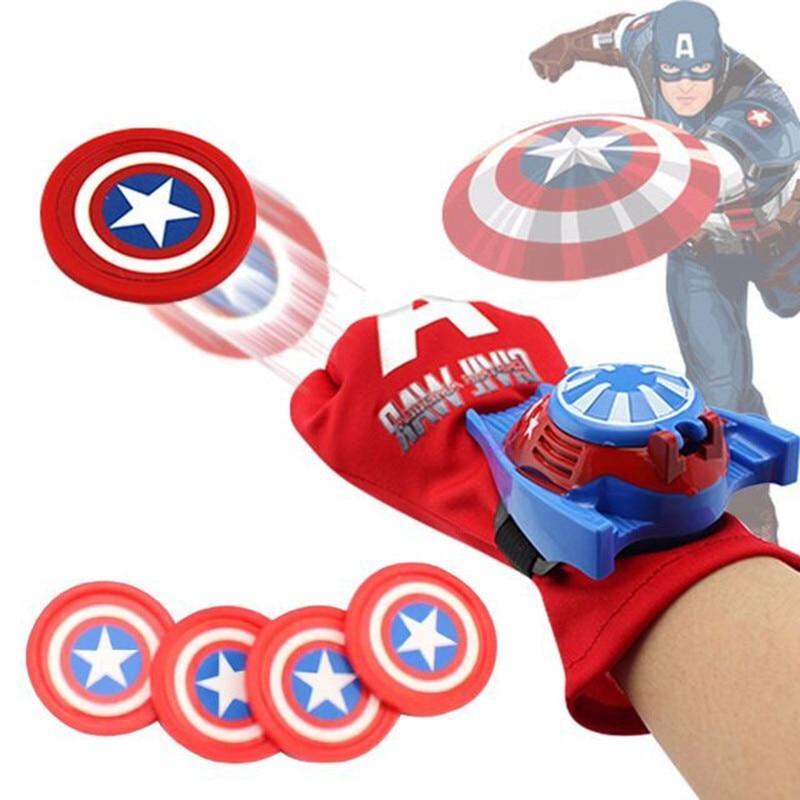 5 Types PVC 24cm Batman <font><b>Glove</b></font> Action Figure <font><b>Spiderman</b></font> Launcher Toy Kids Suitable Spider Man Cosplay Costume Come With Retail Box