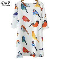 2014 Summer New Casual Dress Women Fashion White Half Sleeve Birds Print Loose Dress