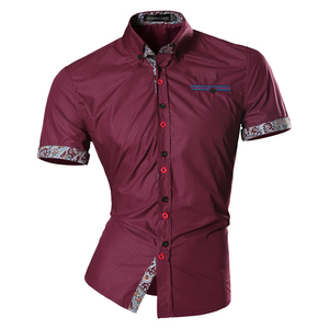 Image 3 - Jeansian hommes été mode lignes dornementation géométrique décontracté coupe ajustée à manches courtes mâle Simple couleurs chemise Z026