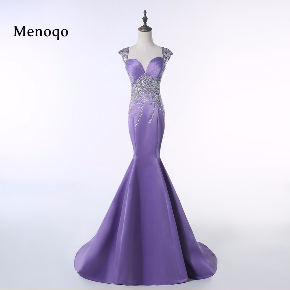 PRD242 Real Photo Mermaid Cap sleeve Satin Beaded Low back evening gown Special occasion   prom     dresses   long 2019
